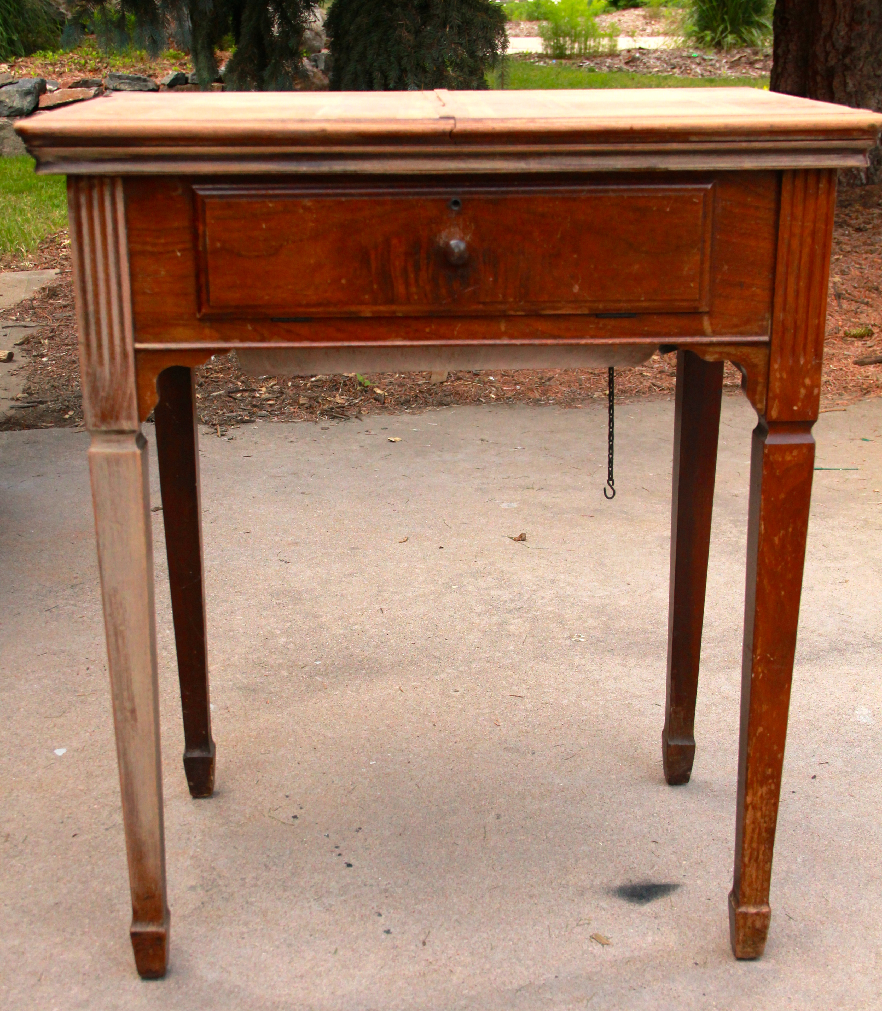 It Is Very Old, Very Water Damaged And Very Uniqueu2026.the Top Opens Up Down  The Middle Instead Of To One Side. This Is Perfect For A Small Desk Or  Entry Table ...
